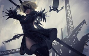 Rating: Safe Score: 169 Tags: blindfold elbow_gloves gloves gray_hair nier nier:_automata pod_(nier:_automata) short_hair sword thighhighs weapon wlop yorha_unit_no._2_type_b User: BattlequeenYume