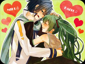 Rating: Safe Score: 10 Tags: hatsune_miku heart kaito vocaloid User: HawthorneKitty