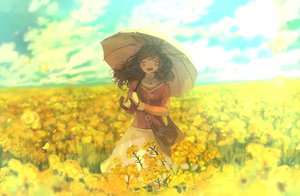 Rating: Safe Score: 92 Tags: clouds dress flowers original petals pon_(cielo) sky umbrella yellow User: FormX