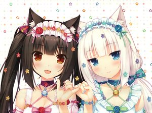 Rating: Safe Score: 435 Tags: 2girls animal_ears bell black_hair blue_eyes brown_eyes catgirl chocola_(sayori) choker flowers headdress nekopara sayori scan vanilla_(sayori) white_hair wristwear User: Dummy