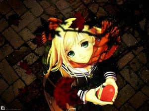 Rating: Safe Score: 51 Tags: blonde_hair green_eyes heart leaves long_hair scarf school_uniform taka_tony valentine watermark User: Oyashiro-sama