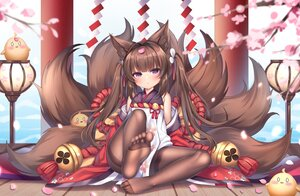 Rating: Safe Score: 75 Tags: amagi-chan_(azur_lane) animal animal_ears anthropomorphism azur_lane bird brown_hair cherry_blossoms chuor_(chuochuoi) flowers foxgirl loli long_hair manjuu_(azur_lane) multiple_tails pantyhose purple_eyes tail User: BattlequeenYume