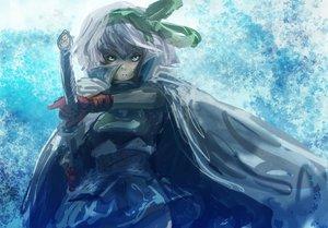 Rating: Safe Score: 52 Tags: blue bow cape gloves gray_hair konpaku_youmu sword tagme touhou weapon User: opai