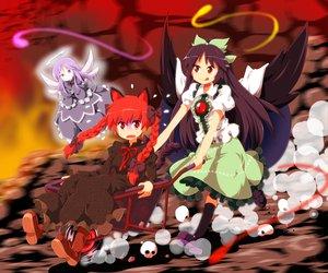 Rating: Safe Score: 35 Tags: animal_ears black_hair catgirl kaenbyou_rin long_hair red_eyes red_hair reiuji_utsuho tail touhou tsurukou_(tksymkw) wings zombie_fairy User: SciFi