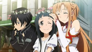 Rating: Safe Score: 34 Tags: black_eyes black_hair braids brown_eyes brown_hair flowers game_cg gloves kirigaya_kazuto loli male short_hair sword_art_online tagme_(artist) tiara wink yui_(sword_art_online) yuuki_asuna User: RyuZU