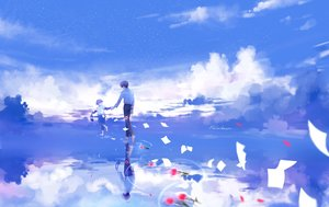 Rating: Safe Score: 11 Tags: all_male barefoot brown_hair clouds flowers koga_(lluluchwan) lluluchwan male original paper reflection short_hair signed sky water User: BattlequeenYume