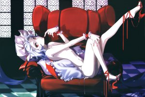 Rating: Questionable Score: 127 Tags: blue_hair hong_(white_spider) nude red_eyes remilia_scarlet short_hair touhou vampire wings User: nanikore