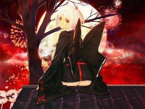 Rating: Safe Score: 55 Tags: ass fireworks japanese_clothes moon red red_eyes short_hair taka_tony tree white_hair User: Oyashiro-sama