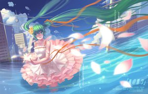 Rating: Safe Score: 60 Tags: aqua_eyes catwyz dress flowers green_hair hatsune_miku long_hair ribbons twintails vocaloid water wet User: HawthorneKitty