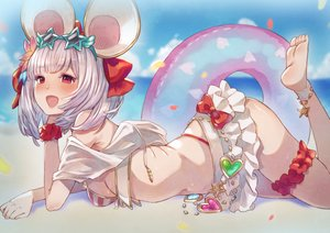 Rating: Safe Score: 44 Tags: animal_ears barefoot beach bikini blush bow breasts clouds eichan_(eichanidfi) garter granblue_fantasy gray_hair mousegirl navel red_eyes short_hair sideboob skirt sky sunglasses swim_ring swimsuit vikala_(granblue_fantasy) water wristwear User: RyuZU
