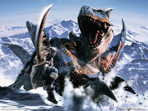 Rating: Safe Score: 82 Tags: armor boots green_eyes jpeg_artifacts monster_hunter realistic snow sword tigrex watermark weapon User: lost91colors