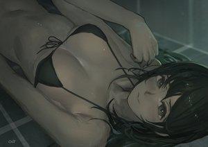 Rating: Safe Score: 73 Tags: bikini_top black_eyes black_hair breasts dark long_hair navel original polychromatic reido_(reido_c) signed User: RyuZU
