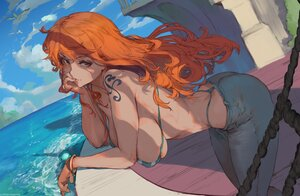 Rating: Safe Score: 76 Tags: animal bikini_top bird clouds cutesexyrobutts erect_nipples long_hair nami one_piece orange_eyes orange_hair signed sky tattoo water User: BattlequeenYume
