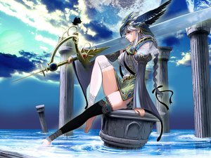 Rating: Safe Score: 208 Tags: braids butterfly chain_chronicle clouds gray_hair headdress long_hair masao original ribbons sword tattoo thighhighs water weapon User: Flandre93