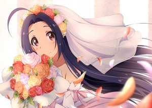 Rating: Safe Score: 39 Tags: black_hair blush close flowers headdress hitotukinanoka idolmaster leaves long_hair miura_azusa petals red_eyes ribbons wedding_attire User: otaku_emmy