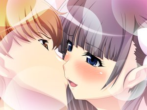 Rating: Questionable Score: 30 Tags: blue_eyes blush brown_eyes brown_hair game_cg kiss purple_hair tears User: Beshounen