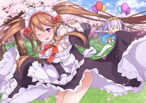 Rating: Safe Score: 70 Tags: aliasing cherry_blossoms chibi grass maid moonhackle myuseru_foaran outbreak_company petralka_anne_eldant_iii skirt_lift User: FormX