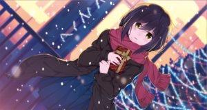 Rating: Safe Score: 20 Tags: black_hair blush bow nijisanji pantyhose scarf seifuku shizuka_rin skirt snow taiyaki_(artist) valentine yellow_eyes User: RyuZU