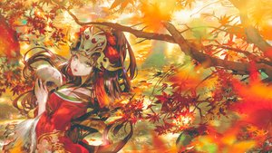 Rating: Safe Score: 54 Tags: autumn breasts brown_hair cleavage headdress japanese_clothes kiyohime_(onmyouji) leaves long_hair mask onmyouji say_hana skull tears tree yellow_eyes User: BattlequeenYume