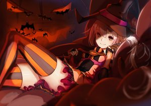 Rating: Safe Score: 189 Tags: animal bat brown_hair elbow_gloves gloves halloween hat lc original pointed_ears pumpkin red_eyes skirt thighhighs witch witch_hat zettai_ryouiki User: FormX