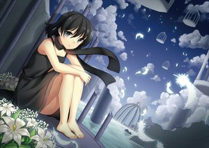 Rating: Safe Score: 137 Tags: barefoot black_eyes black_hair cage clouds dress feathers flowers jenevan kagome_(pop'n_music) pop'n_music scarf short_hair sky User: FormX