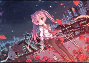 Rating: Safe Score: 134 Tags: flowers gun hidan_no_aria kanzaki_h_aria night north_abyssor pink_eyes pink_hair ribbons rose seifuku skirt sword thighhighs twintails upskirt weapon User: opai