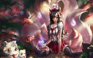 Rating: Safe Score: 133 Tags: ahri_(league_of_legends) animal animal_ears bell brown_hair cherry_blossoms fox foxgirl indiron league_of_legends magic multiple_tails skirt tail thighhighs yellow_eyes User: humanpinka