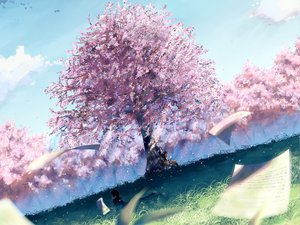 Rating: Safe Score: 108 Tags: brown_hair cherry_blossoms clouds flowers grass landscape paper scenic school_uniform short_hair sky User: Maboroshi