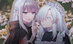 Rating: Safe Score: 19 Tags: 2girls blush cape close flowers gray_eyes green_eyes hoodie jenevan maid original reflection ribbons white_hair User: Maboroshi