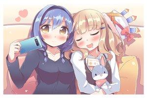 Rating: Safe Score: 71 Tags: 2girls blonde_hair blue_hair blush brown_eyes bunny furutani_himawari hat headband heart oomuro_sakurako phone sleeping takahero yuru_yuri User: luckyluna