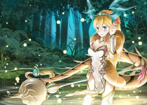 Rating: Safe Score: 135 Tags: aqua_eyes blonde_hair brianchan.t.w choker forest long_hair puzzle_&_dragons sakuya_(p&d) staff tail thighhighs tree water weapon User: FormX