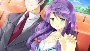 Rating: Safe Score: 63 Tags: blush daikou_wakako game_cg green_eyes hearts_(company) koi_saku_miyako_ni_ai_no_yakusoku_wo_~annaffiare~ long_hair natsume_eri purple_hair tie User: C4R10Z123GT