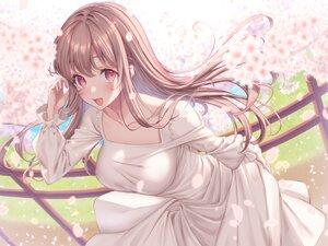 Rating: Safe Score: 42 Tags: blush brown_hair cherry_blossoms dress flowers grass long_hair original petals pink_eyes sakura_shiho_(shihoncake) User: Dreista