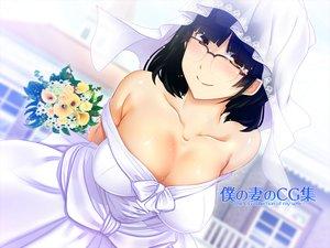 Rating: Safe Score: 33 Tags: amagasahigasa black_hair breasts brown_eyes cleavage flowers glasses original short_hair wedding_attire User: RyuZU
