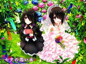 Rating: Questionable Score: 107 Tags: aliasing date_a_live flowers goth-loli lolita_fashion tokisaki_kurumi tsubasaki wedding_attire User: gnarf1975