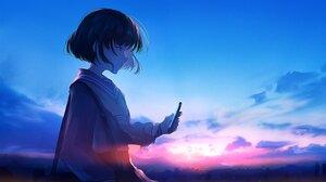 Rating: Safe Score: 30 Tags: close clouds mifuru original phone polychromatic scenic school_uniform short_hair sky sunset User: FormX