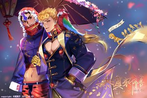 Rating: Safe Score: 12 Tags: all_male animal bird blonde_hair brown_hair giorno_giovanna gloves green_eyes greeny_(maindo) guido_mista hat jojo_no_kimyou_na_bouken logo male navel short_hair umbrella watermark User: RyuZU