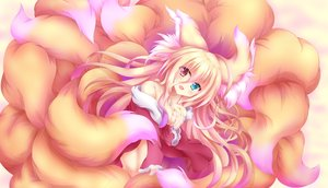Rating: Questionable Score: 36 Tags: animal_ears bicolored_eyes blonde_hair breast_hold breasts cat_smile fang foxgirl lactation long_hair multiple_tails no_bra original tagme_(artist) tail User: sadodere-chan