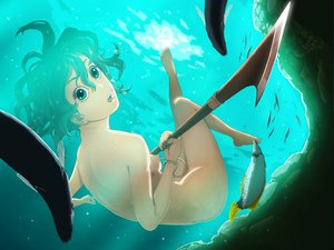 Rating: Questionable Score: 57 Tags: animal aqua_eyes aqua_hair barefoot berserk breasts fish isma nipples nude short_hair underwater water weapon User: opai