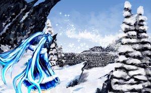 Rating: Safe Score: 70 Tags: hatsune_miku landscape scenic snow vocaloid yuki_miku User: HawthorneKitty