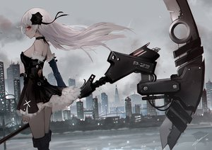 Rating: Safe Score: 105 Tags: boots building choker city dress erospanda gothic long_hair original red_eyes scythe signed sky water weapon white_hair User: BattlequeenYume