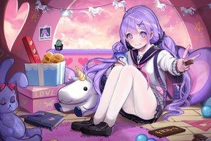Rating: Safe Score: 61 Tags: anthropomorphism azur_lane blush book bunny chocolate clouds long_hair pantyhose phone purple_eyes purple_hair school_uniform skirt sky unicorn_(azur_lane) vividyume User: BattlequeenYume