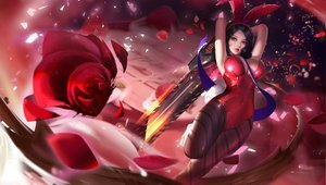 Rating: Safe Score: 105 Tags: animal_ears black_hair bunny_ears bunnygirl flowers red rose sword weapon yueyue User: FormX