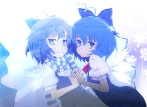 Rating: Safe Score: 24 Tags: blue_eyes blue_hair cirno fairy liking scarf touhou wings User: RyuZU