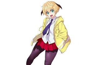 Rating: Safe Score: 26 Tags: blonde_hair green_eyes hoodie onsoku_inu original pantyhose school_uniform short_hair skirt tie white User: otaku_emmy