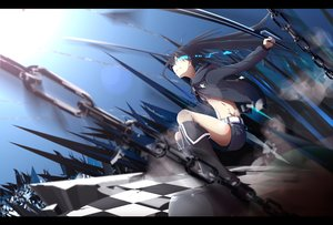 Rating: Safe Score: 110 Tags: black_hair black_rock_shooter blue_eyes boots chain hazfirst kneehighs kuroi_mato long_hair shorts sword twintails weapon User: Flandre93