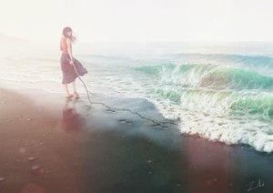 Rating: Safe Score: 37 Tags: barefoot beach long_hair original scenic signed skirt tamaki_(tamaki_illust) water wristwear User: FormX
