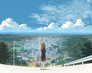 Rating: Safe Score: 115 Tags: brown_hair building city clouds cropped isai_shizuka landscape original scenic skirt sky User: Wiresetc