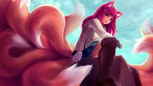 Rating: Safe Score: 120 Tags: ahri_(league_of_legends) akumaakatsukii animal_ears foxgirl league_of_legends long_hair multiple_tails tail User: luckyluna