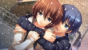 Rating: Safe Score: 54 Tags: blue_eyes blue_hair brown_hair game_cg koi_de_wa_naku makishima_yumi male norifumi_(koi_de_wa_naku) short_hair snow tears tomose_shunsaku User: Katsumi
